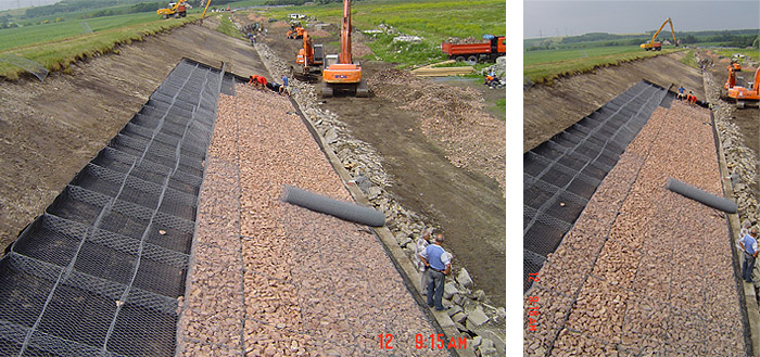 Zámolyi Víztározó elzárógát GABION matrac burkolat építése